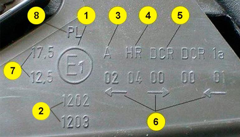 Пример классической маркировки на фарах